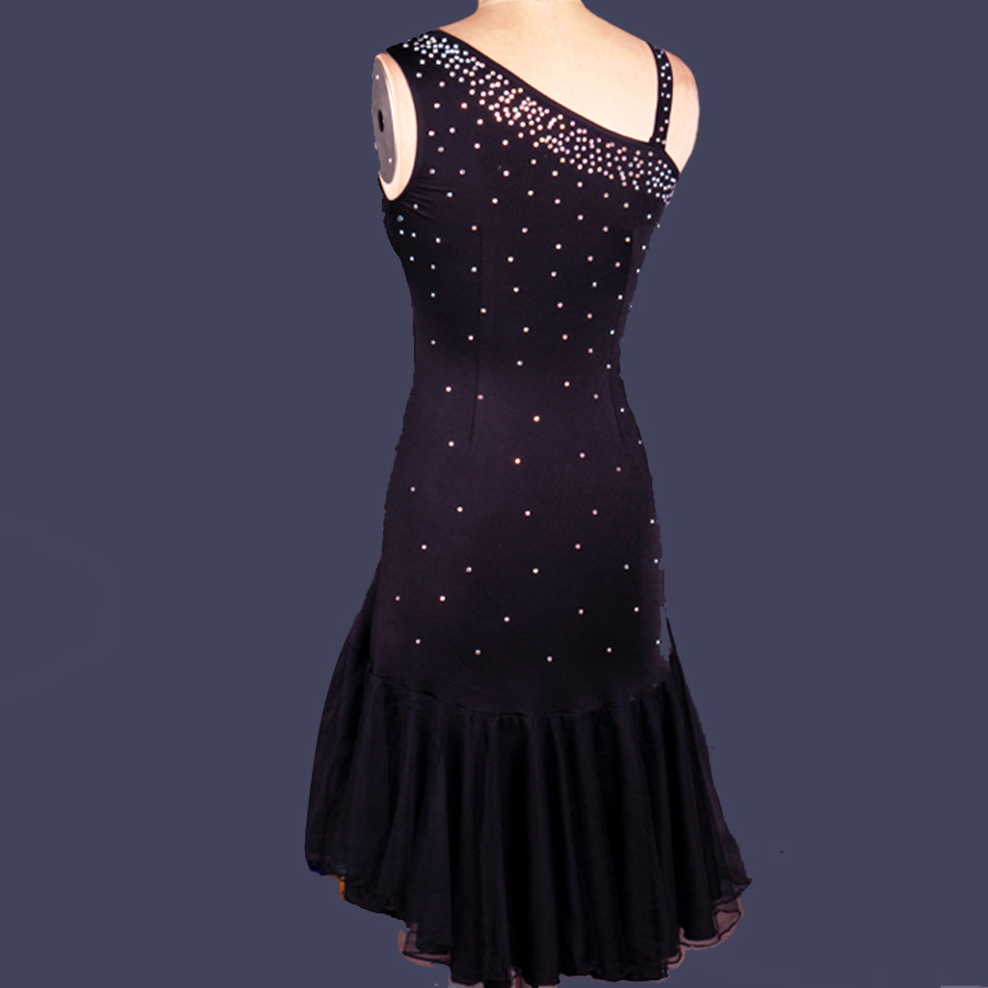 bc5927d3609e Latin Dance Dress Women Diamond Roupa Infantil Feminina Black Ballroom/Cha  Cha/Rumba/Samba/Latin Dresses For Dancing DQ13032